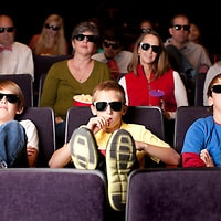 Real People Audience: Adults Teenagers Watching 3D Movie Theater