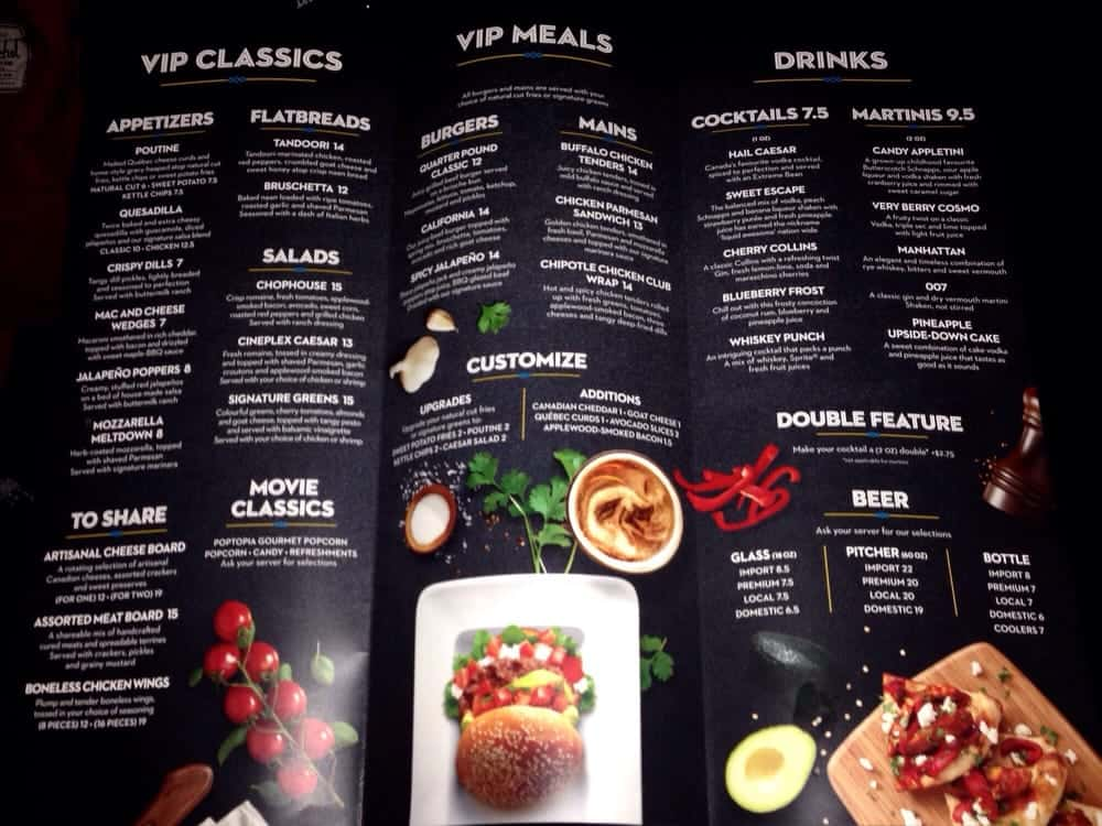 Cineplex VIP Food Menu With Prices