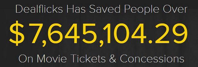 DealFlicks Total Movie Ticket Savings