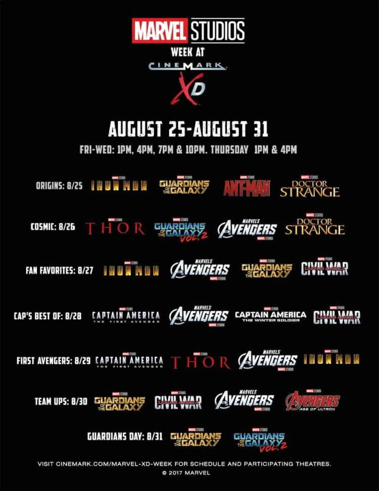 Cinemark Marvel Week Movie Special