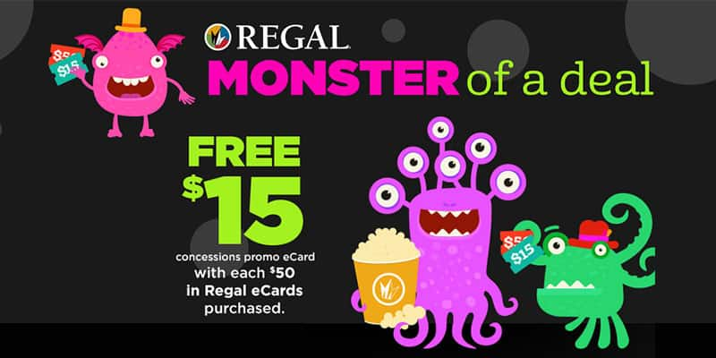 Regal Movie Deal   $15 Concession Gift Card